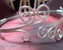 Silver Arm Band Wire Wrapped Upper Arm Bracelet, Silver Arm Cuff, Armlet, Upper Arm Cuff, Bohemian Jewelry armband