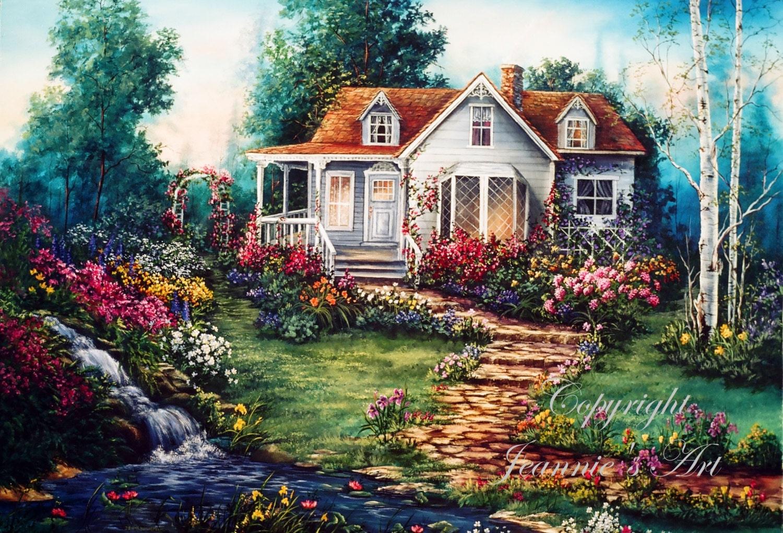 Casa victoriana con jardines impresi n de pintura al leo - Oleos de jardines ...