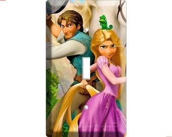 Tangled movie princess Rapunzel Flinn Pascal chameleon Maximus single light switch cover plate children room girls pink room decor