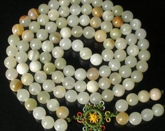Tibet Natural Light Stone 10mm 108 Beads Beaded Buddhism Buddha Prayer Mala Necklace