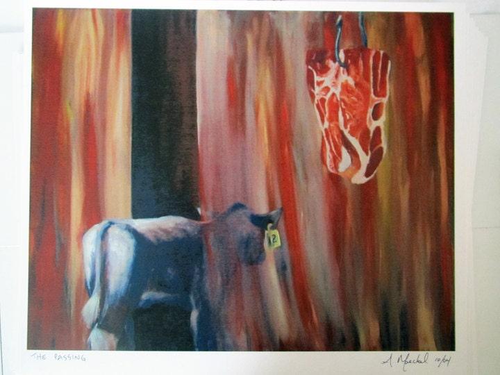 "Signed ""The Passing"" print.  Animal liberation art."