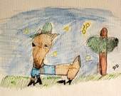 """Original drawing by 6 year old, Watercolor Pencil/Pen-and-Ink, 9x12, Child Art, Print, """"Fancy Deer"""""""