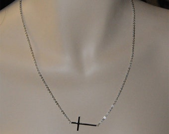 """All Sterling Silver - 23"""" Sideways Cross Necklace, Sterling Silver Chain"""