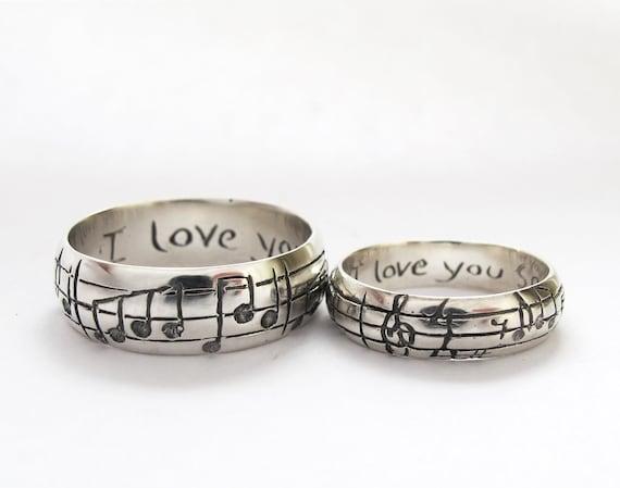 Music Wedding Ring Set White Yellow Or Rose Gold Diamond