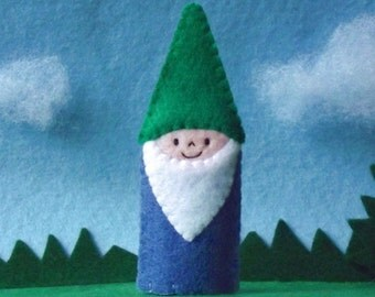 Little Gnome Finger Puppet with Green Hat - Gnome Puppet - Garden Gnome Finger Puppet - Felt Gnome Finger Puppet - Garden Puppet