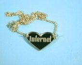 Internet Heart Gold Mirror Acrylic Necklace