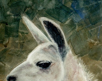 ACEO ATC Mini Art Llama Love Watercolor Alpaca Animal Print DelPesco