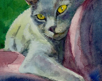 ACEO ATC Cat Portrait Lounging Russian Blue Watercolor Mini Print DelPesco