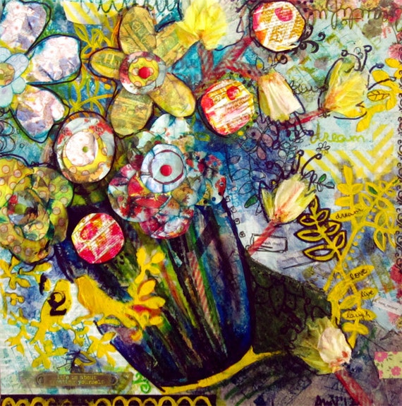 Just Because Flowers Original Mixed Media Painting Collage Romantic Wall Art Still Life Artwork