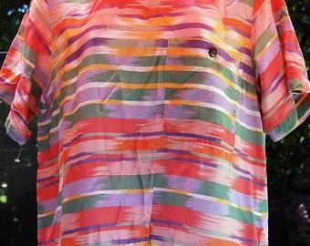 Vintage 80s Pastel Tribal Aztec Ikat Boxy Print Blouse Top Shirt Size 10 Petite Medium