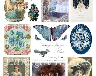 BLUE ephemera, digital collage sheet, VINTAGE images Victorian pictures DOWNLOAD shabby cottage chic romantic ladies butterflies altered art