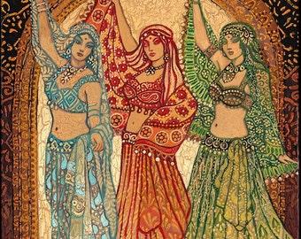Sisterhood of the Silk Road Bellydance Goddess Art 11x14 Print