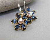 Earrings - vintage Swarovski crystal and brass flower, modern Swarovksi crystal and sterling silver earrings - Starflower