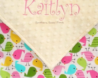 Baby Girl Baby Blanket - Embroidered Baby Girl Blanket  -  Urban Zoologie Birds in Spring and Minky Dot