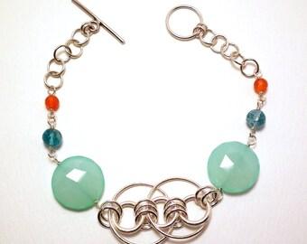 June - Aqua chalcedony, apatite, and carnelian bracelet