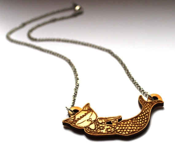 Mermaid Cat Necklace -  LAST ONE hand drawn illustration laser cut from birch wood