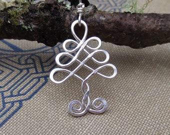 Little Celtic Tree  Pendant, Sterling Silver Tree of Life Wire Necklace, Christmas Gift Celtic Jewelry, Small Tree Necklace, Christmas Tree