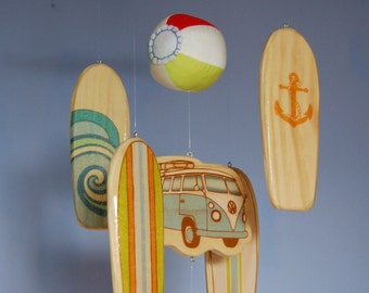 Baby Mobile - Surfboards and Beach Balls - Wooden Mobile for a Beach Themed Nursery