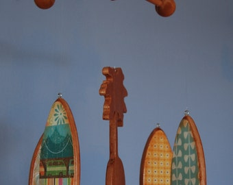 Baby Mobile - Surfboards - Wooden Mobile for a Beach Themed Nursery