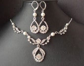 Art Deco Bridal Necklace & Earrings SET, Vintage Wedding Jewelry Set, Great Gatsby, Crystal Wedding Necklace and Earrings, ELISE