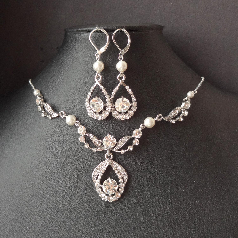 Art Deco Bridal Necklace & Earrings SET Vintage Wedding