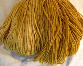 Hand Dyed Superwash Merino & Nylon Wool Fingering Weight Yarn- Golden Yellow, Gold, Golden Brown, Knitting Yarn, Sock Yarn 462 Yards