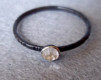 Tiny Stacking Ring - Rose Cut Clear Quartz Crystal -Blackened Dainty Band - Sterling and Fine Silver