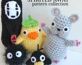 Spirited Away crochet pattern set Mouse Soot Sprite No Face Duck Spirit