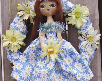Daisy Wreath with Folk Art Doll Primitive Garden Inspired