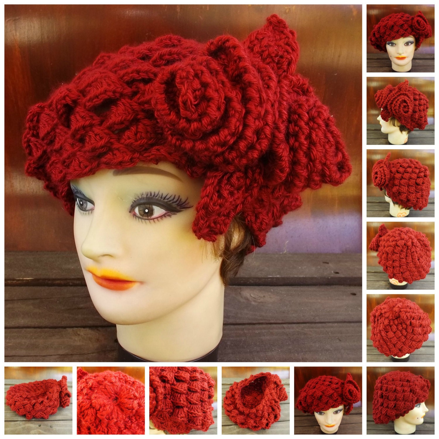 Crochet Pattern Womens Hat : Crochet Pattern Hat Womens Crochet Hat by strawberrycouture