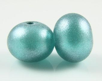 Regular Hollow SALE - Light Teal Sparkle Hollow Lampwork Glass Bead Pairs