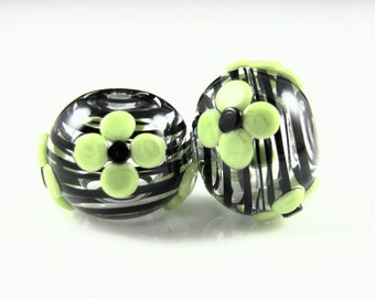 Green Flower Hollow Lampwork Glass Bead Pairs