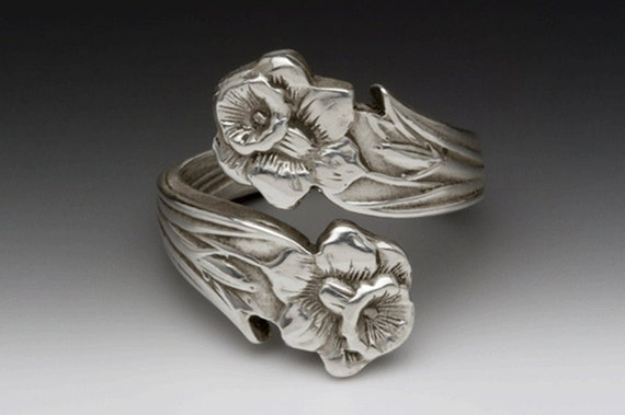 Unusual Handmade Silver Ornate Daffodil Lilly Flower Spoon Handle Adjustable RING