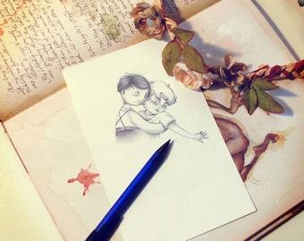 Verner and Rose embracing - Original drawing