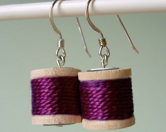 Earrings - Spools of Thread in Plum