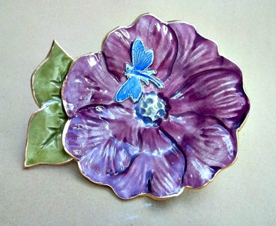Ceramic Flower  Bowl with dragonfly Eggplant Purple