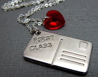 """You Got Mail First Class in Silver Necklace // Silver Plated Postcard Charm // Red Swarovski Crystal Heart // 17"""" Brass Chain"""