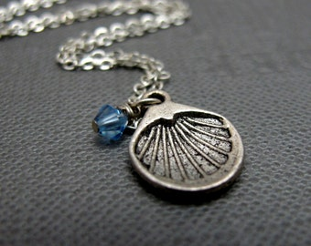 """Love and Protection Necklace // Silver Shell Charms // Blue Swarovski Crystals // 17"""" Silver Chain Necklace // Bridal Gifts"""