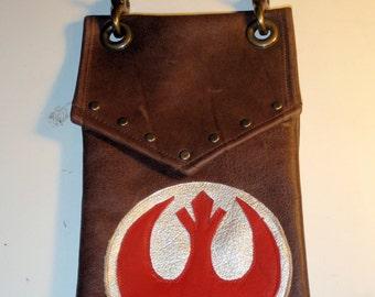 Darkwear Rebel Alliance Star Wars Leather Hip Pouch- Belt Pouch- Mapcase Bag  made to order
