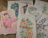 23 Vintage Greeting Cards with bits of Glitter all Unused