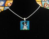 Handmade Border Collie Puppy Dog Art Pendant Necklace Jewelry