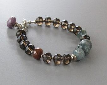 Moss Aquamarine Smoky Quartz Bracelet Sugalite Gemstone Sterling Silver Bead DJStrang Brown Blue Red Boho Chic