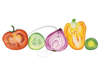 Vegetable Juice - Watercolor Art Giclee Print Kitchen Tomato Onion Pepper Cucumber Leek fresh Available in Paper and Canvas by Olga Cuttell