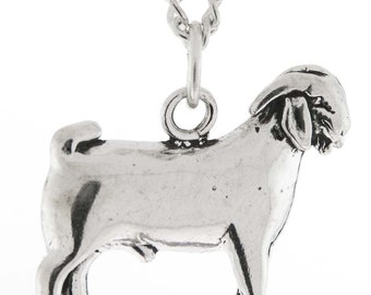 Stock Show Ram Buck Goat Necklace in Sterling Silver - Free Chain