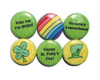 St Patrick's Day Magnets or Pinback Buttons - Irish Magnets, Irish Pins, St Patty's Day Gift, Shamrock, Rainbow, fridge magnet set, pin set