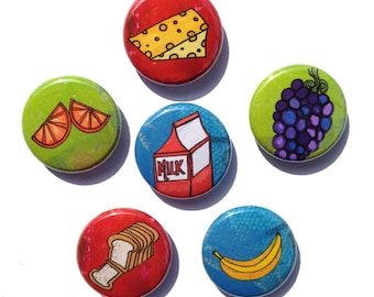 Healthy Food Magnets or Food Pins - Fridge Magnet set, pin set, 1 inch magnets, pinback buttons, milk, banana, bread, orange, cheese kitchen