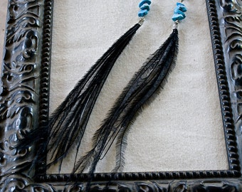 Black Feather and Turquoise Stone Earrings
