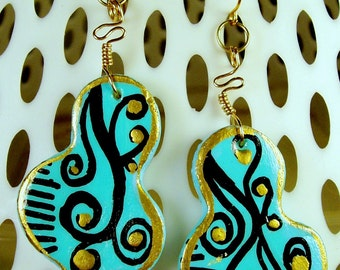 Gold & Turquoise Hand Painted Artsy Dangle Earrings OOAK