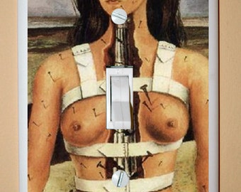 "Frida Kahlo ""The Broken Column"" - Altered Art - Single Light Switch Cover in Neutral Colors"