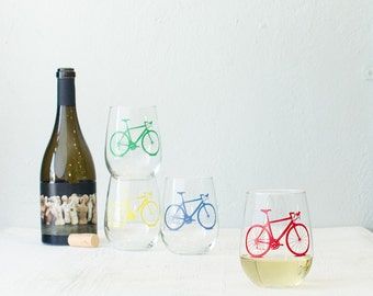 BICYCLE WINE GLASSES screen printed bike stemless wine glasses red yellow blue green